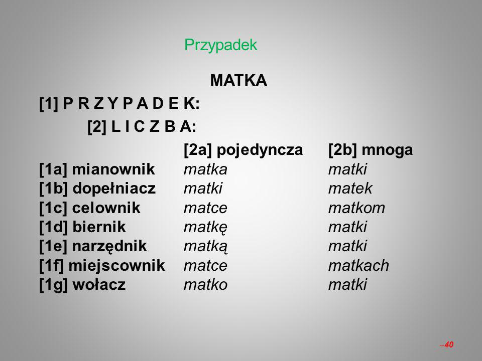 Przypadek MATKA. [1] P R Z Y P A D E K: [2] L I C Z B A: [2a] pojedyncza [2b] mnoga. [1a] mianownik matka matki.